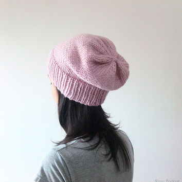 Hand Knitted Chunky Hat in Light Pink - Slouch Seamless Hat - Winter Hat - Wool Blend