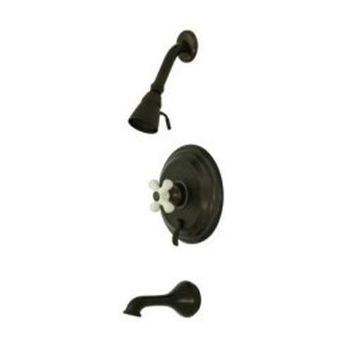 elements of design eb36350px new orleans oil rubbed bronze pressure balanced tub and shower faucet with porcelain cross