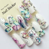 1 Sheet Water Decals Nail Art Stickers  Flowers Cartoon 2017 New Designs Watermark Transfer Red Colorful Manicure SASTZ501-512