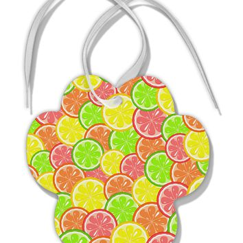 Colorful Citrus Fruits Paw Print Shaped Ornament All Over Print