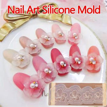 Nail Art Sakura 3D Acrylic Mold for Nail Art Decorations DIY Design Silicone Nail Art Templates Pattern manicure beauty