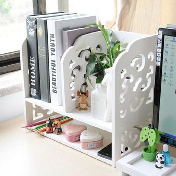 New 2 layer Multi-function Wood plastic board folding desktop organizer makeup tools holder Cosmetic shelf Office shelves racks