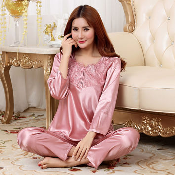 New Arrival Women Elegant Silk Satin Pajama Set Long Sleeve Pijama Set Lace Pyjama Set V-neck Night Wear Fashion Sleep Wear
