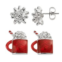Crystal Silver-Plated Bow & Mug Stud Earring Set