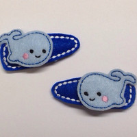 Cute Blue Whale Felt snap clip barrette set set of 2 for $5.00