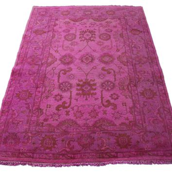 4x6 Hot Pink Rug Fuchsia Ushak Over-Dyed Handknotted Wool 2766