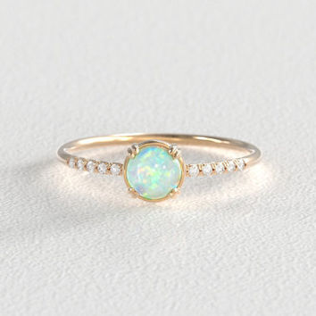 Opal and Diamond Engagement Ring | Secret Diamond | Recycled Yellow Gold | 10 Side Stones | Delicate Diamond Hand Pavé Band