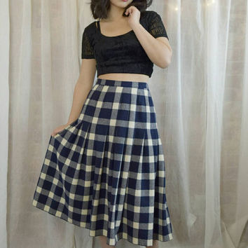 Vintage 70s Blue Plaid Pleated Skirt