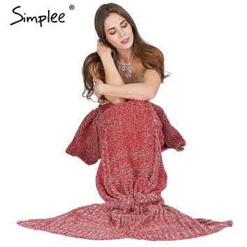 Simplee Warm knitted mermaid blanket Princess fish tail kids adult sofa sleeping bag Autumn soft handmake crochet wrap bedding
