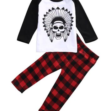 Toddler Baby Boy Clothes Long Sleeves Cute Cartoon Skull Head Print Top + Plaid Pant Outfit Clothing Set