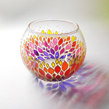Tea Light Candle Holder Sphere glass vase Handpainted glass candle holder Gift for Her Wedding Favors