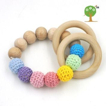 Organic nursing toy  wooden teething toy Baby girl gift pastel mint pink color crochet beads 15mm rattle toddler ET21