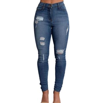 Elasticity Full Length High Waist Jeans