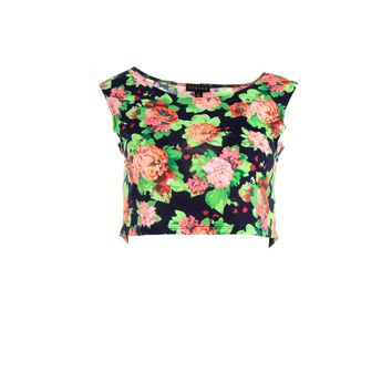 Timing Womens Juniors Knit Floral Print Crop Top