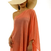 One Shoulder Beach Coverup, Kaftan, Tunic handmade of cotton gauze in light coral.