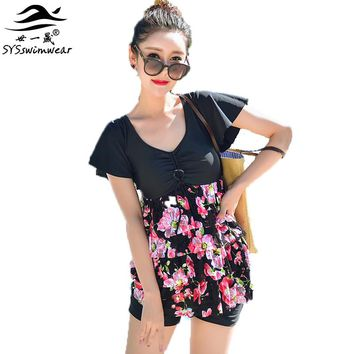 High quality  Floral Wire Free Women Two Pieces Swimwear Cover the Shoulders Tiered Skirt Lady Swimsuit Backless Bathing suit