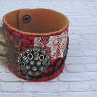 Scarlet Jewelry ,Unique Womens Cuff, Deep Red Leather Cuff , Bohemian Jewelry , Women's Bracelet
