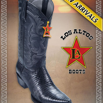 Teju Lizard Snip Toe Black Men's COWBOY WESTERN BOOTS BY LOS ALTOS BOOTS