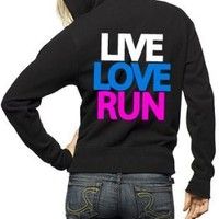 Live Love Run Cross Country Zip Hoodie Sweatshirt (X-Large, Black)