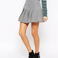 Glamorous Pleated Skirt in Mini Dogtooth
