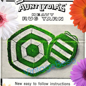 Crochet PATTERN Vintage - Bathroom Rug and Toilet Seat Cover - Easy to follow Instructions - 1960s Retro Rug Pattern  Instant Download PDF