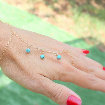 Slave bracelet  Turquoise Bracelet Ring  Gold Filled by JulJewelry