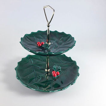 Vintage Lefton 1364 Christmas Two Tiered Serving Tray Green Holly Tidbit Ceramic Holiday Decor Retro Mid Century With Box