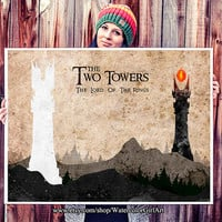 The Two Towers poster - Lord of the Rings poster. Watercolor poster. Handmade poster.