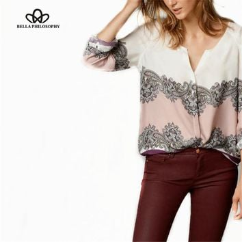 Spring autumn new Europe style v-neck long sleeve ethnic wine red paisley placement print thin blouse shirt