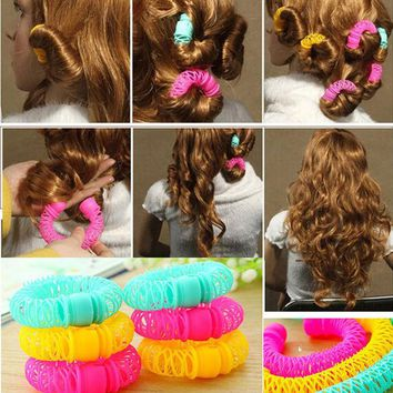 DCCKL72 6 pcs Large size 7.5 cm New Hair Styling Roller Hairdress Magic Bendy Curler Spiral Curls DIY Tools