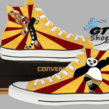Hand Painted Converse Hi. Kung Fu Panda. Po. Tigress. Handpainted shoes.