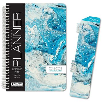 """HARDCOVER Academic Year Planner 2018-2019 - 5.5""""x8"""" Daily Planner / Weekly Planner / Monthly Planner / Yearly Agenda. Bonus BOOKMARK (Blue Marble)"""