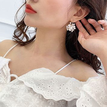 South Korea net red high-quality pearl earrings