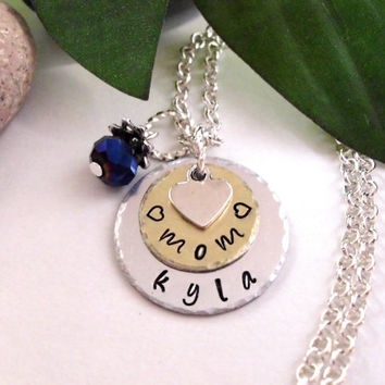 Personalized Jewelry, Mom Jewelry, Hand Stamped Jewelry, 2 discs