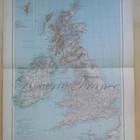Antique Map of Great Britain - 1891 Large Map of British Iles England, Scotland, Ireland, Wales