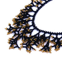 Gold Black Necklace. Beaded Handmade Jewelry. Beadwork. Coral Style