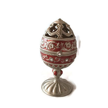Musical Faberge Style Egg, Red Enamel, Pewter and Crystals, Carved Flowers Center Piece