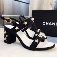 Chanel Fashion Women golden star black high-heels sandals shoes H-ALXY JL