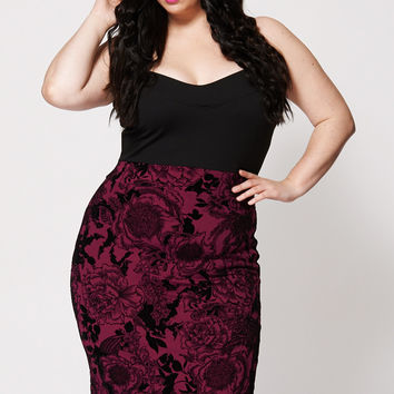 Sweetheart Neck Floral High Waisted Bodycon Dress