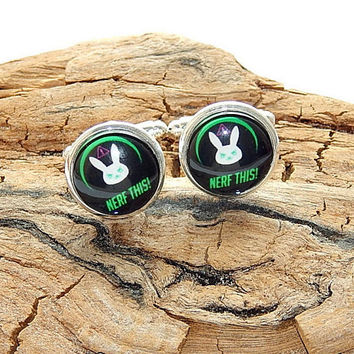 Overwatch DVa cufflinks jewelry, DVa Bunny Logo, Overwatch Dva Nerf This, video game overwatch, overwatch simbol emblem, gamer cufflinks