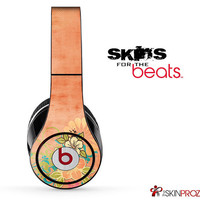 Vintage Orange Floral Skin For The Beats by Dre Studio, Solo, Pro, Mix-R or Wireless