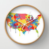 Patriotic USA Map Wall Clock by ArtisanObscure Prints
