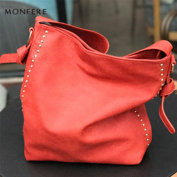 Monfere large casual hobos women bag 2017 fashion ladies soft PU leather rivets shoulder bag brand designer handbag high quality