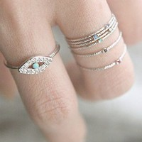WHITE GOLD EVIL EYE RING JEWELRY
