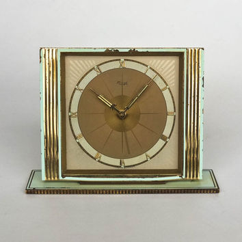 Antique Desk Alarm Clock by Kienzle, 40s - 50s Germany / Brass / Turquoise
