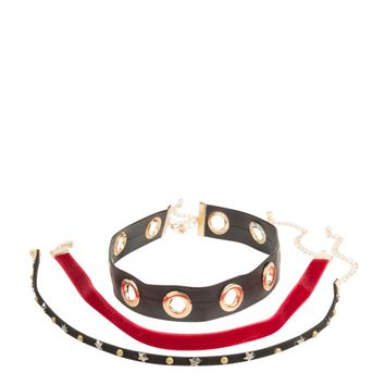 3 CHOKER SET Velvet and studs