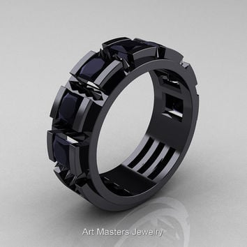 Mens Avant Garde 14K Black Gold Princess Black Diamond Channel Cluster Thorn Wedding Ring R574-14KBGBD