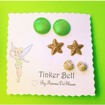 "Handmade ""Tinkerbell"" inspired earring set Disney Glitter Star Green Neon Earrings"
