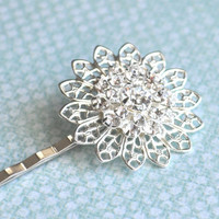 Isabella silver plated filigree hair pin by adencreations on Etsy