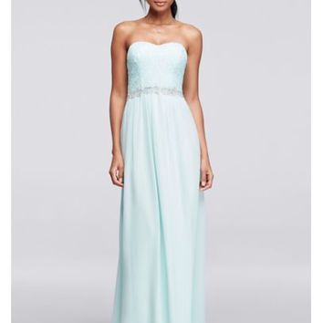 Strapless Chiffon Prom Dress with Beaded Sash - Davids Bridal